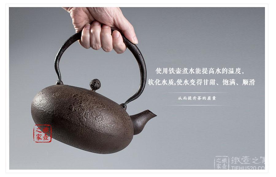 田山和康 布团形雪花砂铸铁壶展示图