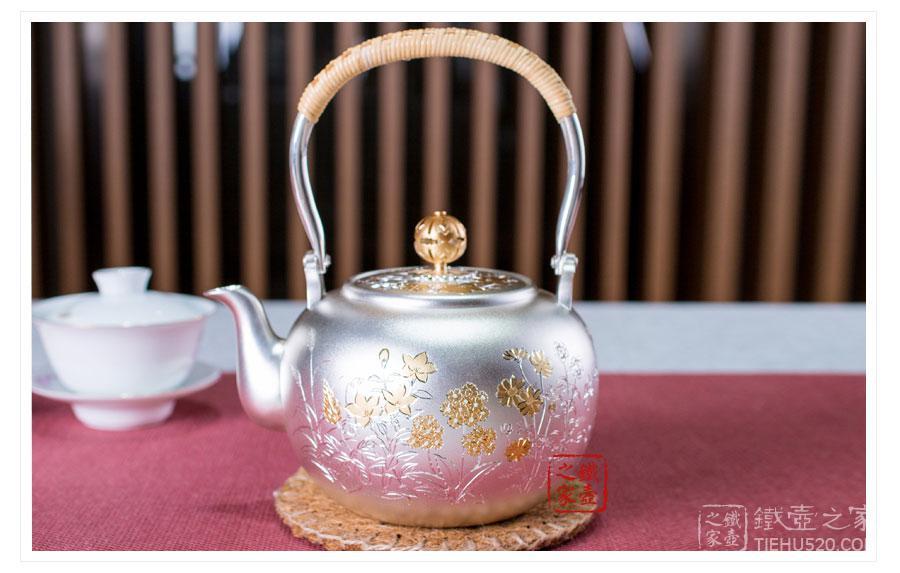 日本花草雕金银壶