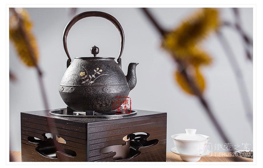 平安松寿堂 金银镶嵌长闲菊桔梗铁壶展示图