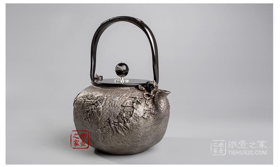高陵金寿堂 砂铁八角形山水铁壶展示图