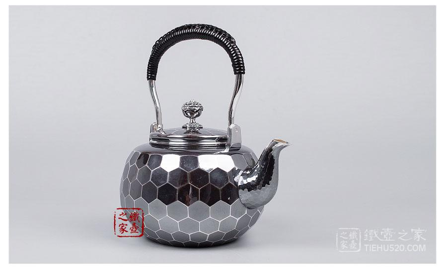 早川器物,龟甲纹银壶