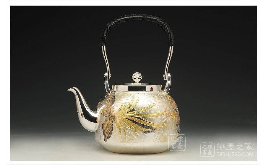 大渊银器 纯银 雕金凤凰纹银壶展示图