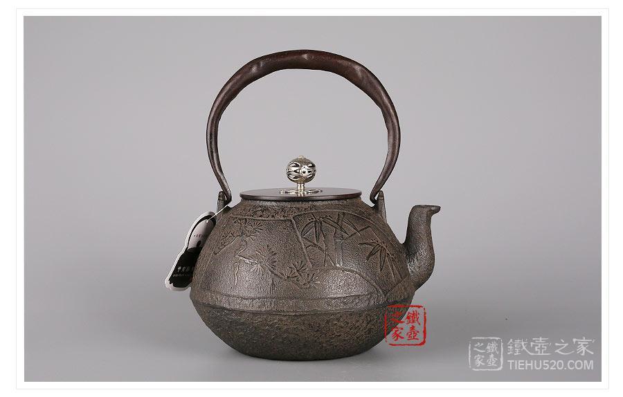 平安松寿堂 扇面松竹梅铁壶(银摘) 展示图