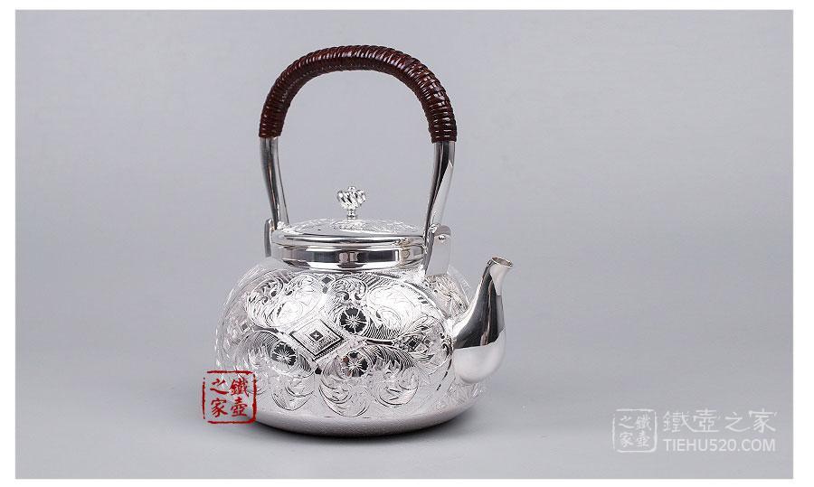大渊银器 纯银 並型洋彫汤沸(4.5寸)展示图