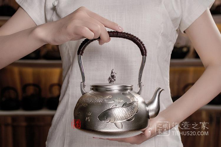 大渊银器雕金鲤鱼银壶