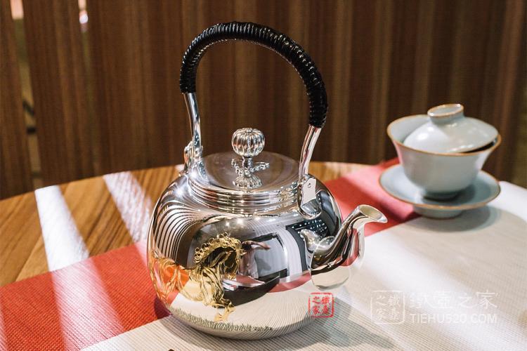马雕金纯银茶具