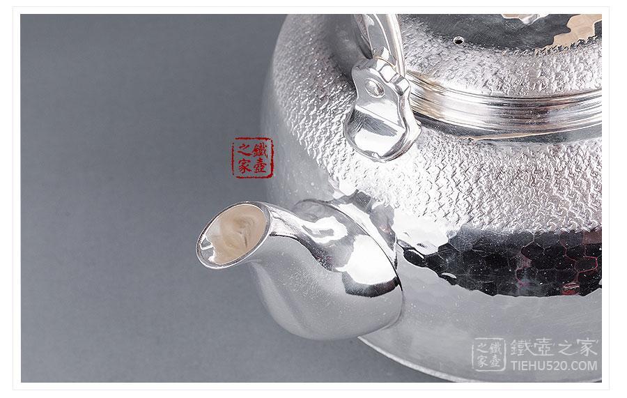 合川银器 纯银 锤点纹银壶展示图