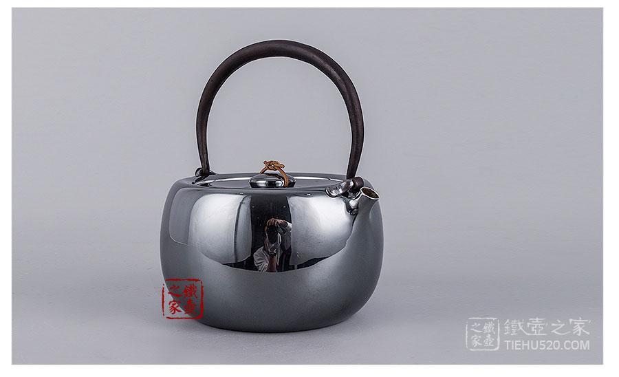 承合银器 纯银 真锅型薰色银壶展示图