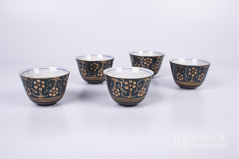 九谷烧 青粒铁仙5杯套装(K5-726)展示图