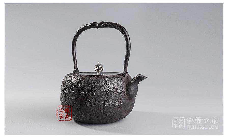 岩户賢一郎   丸龙银摘铜盖砂铸铁壶展示图