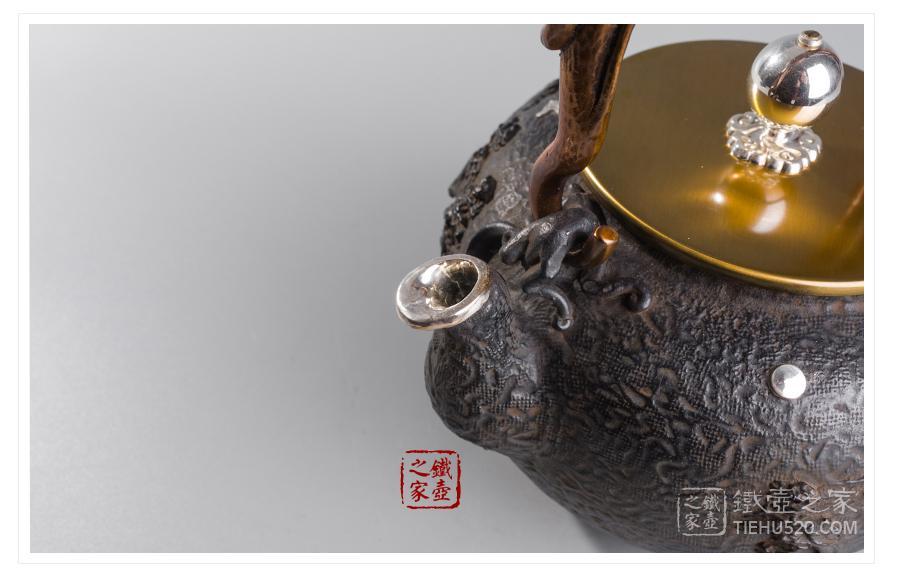 高陵金寿堂 复刻龟文堂茅屋飞鸟银口铁壶展示图