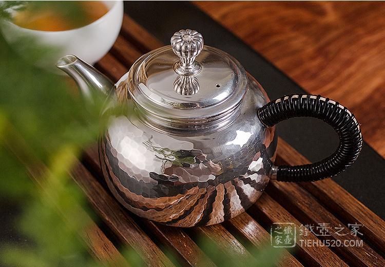 承合银器 釜型锤目纹急须/泡茶壶展示图
