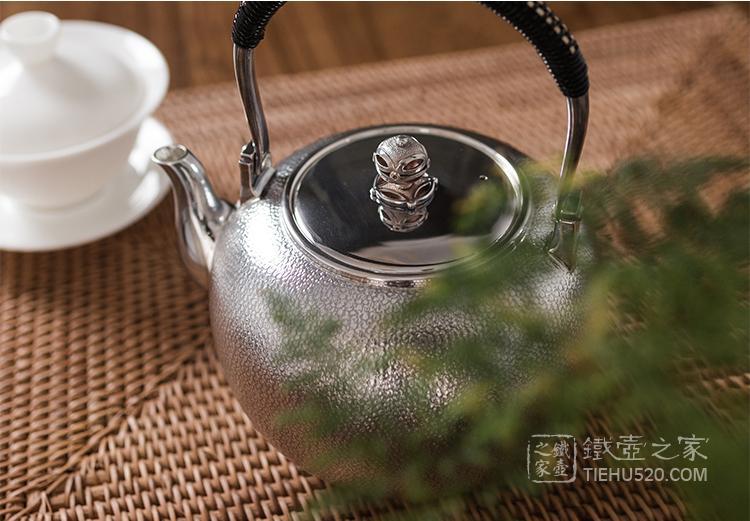 承合银器 纯银 小丸型橘皮纹银壶(熏色)展示图