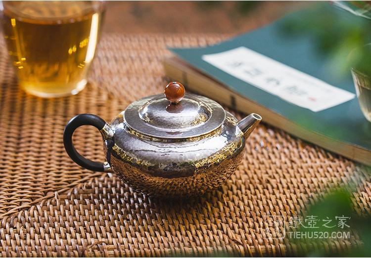 承合银器 芸腹锤目纹急须/泡茶壶展示图