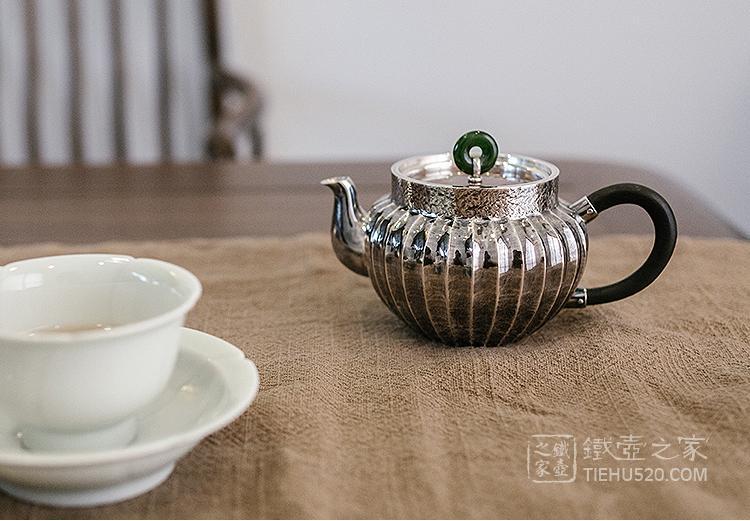 承合银器 玉摘铜盖筋纹薰色侧耳急须/泡茶壶展示图