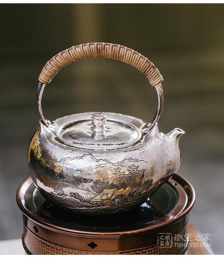 晓诚金工 月满乡山刻绘口耳一体纯银银壶(林陵祥)展示图