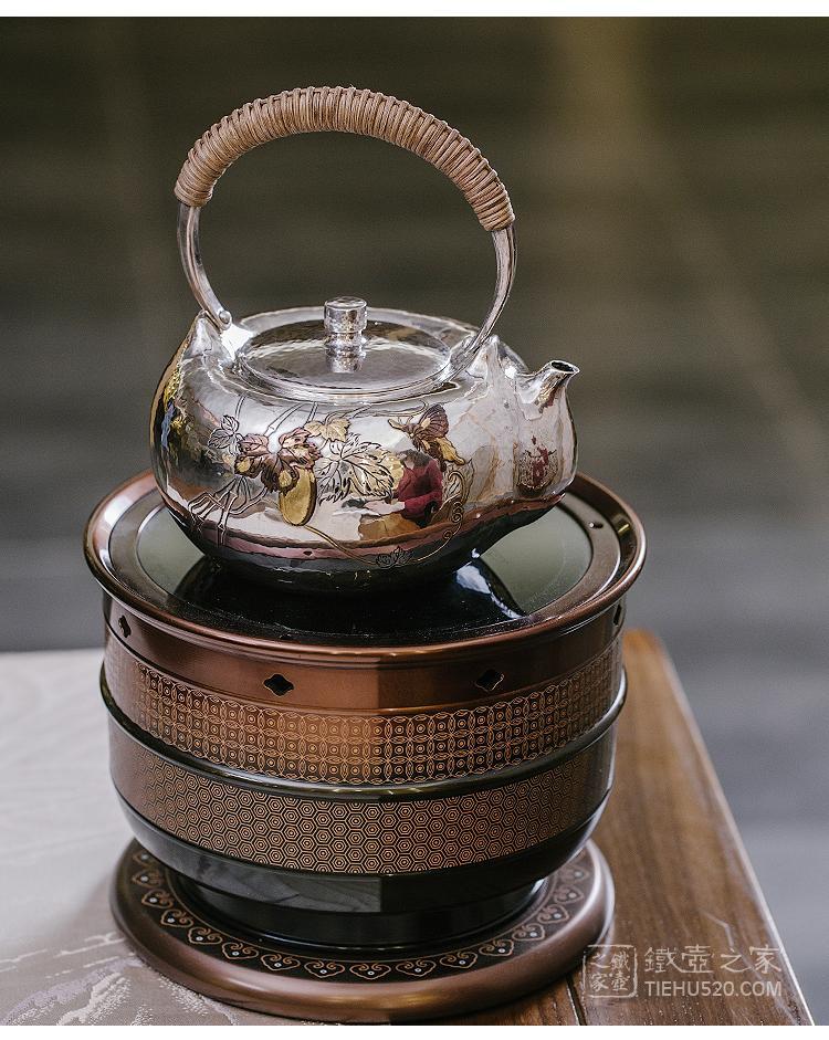 晓诚金工 福运绵长锤目纹刻绘口耳一体纯银银壶(林陵祥)展示图