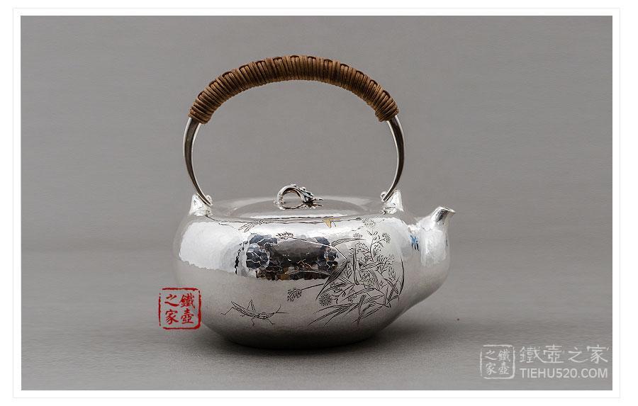 林陵祥 纯银 春华口耳一体银壶展示图