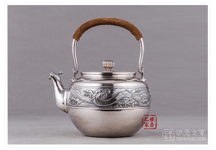 承合银器 纯银 龙跃凤鸣银壶展示图