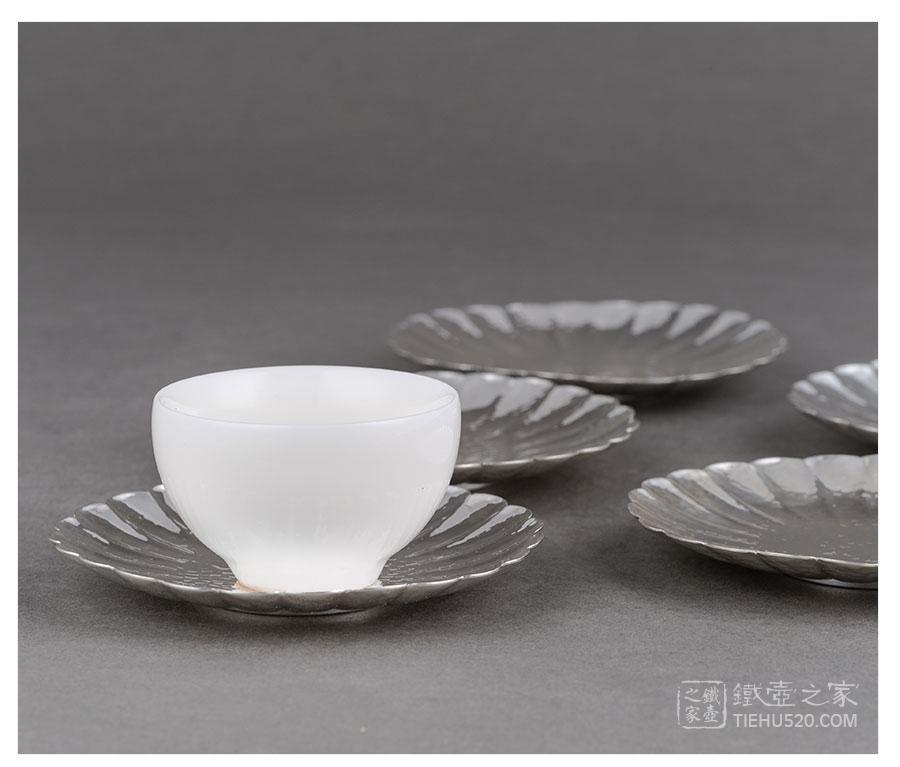 承合银器 纯银 花瓣茶托展示图