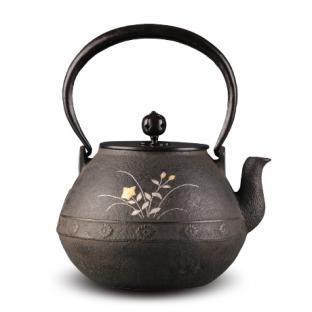 平安松寿堂 金银镶嵌长闲菊桔梗铁壶