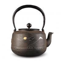 京都平安松寿堂 金银布目镶嵌万代屋砂铸铁壶