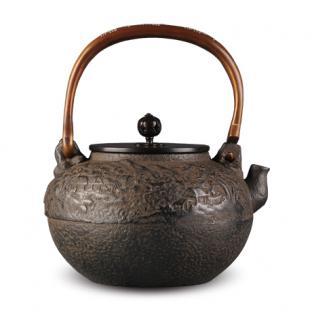 京都平安松寿堂 弦青海波砂铸铁壶