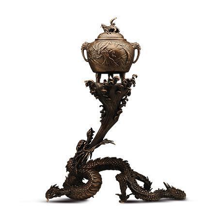 高冈铜器 蛟龙吐水摆件香炉