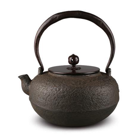 平安松寿堂 平丸荒肌砂铸铁壶