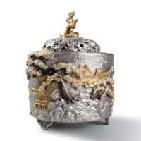 银祥堂 纯银 雕金山水浮雕香炉