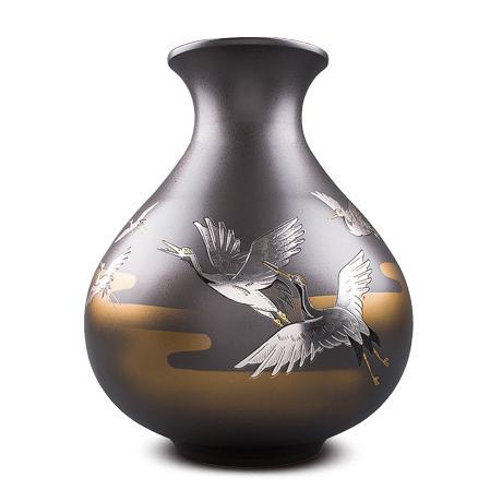 高冈铜器 胖达摩型千羽鶴花瓶