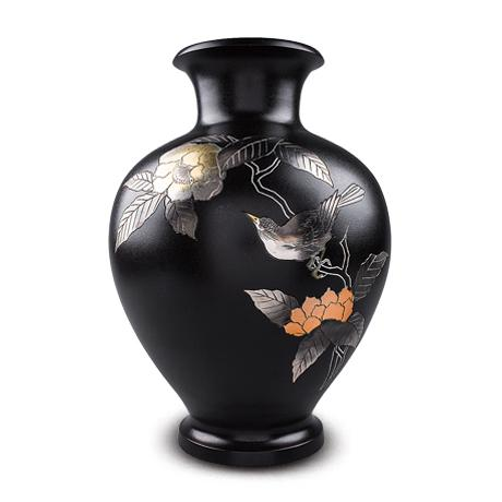 高冈铜器 木瓜喜鹊福寿花瓶