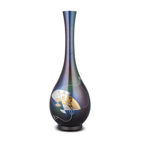 高冈铜器 一輪生扇面雕金长颈花瓶