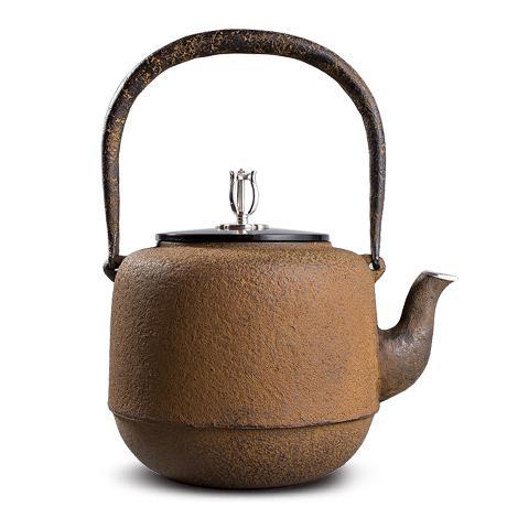 清光堂 小枣型砂铁铁壶(银摘银口)