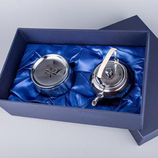 早川器物 熏银涟波纹茶具(2件套)