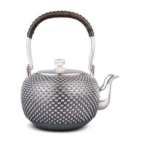 银荣堂 纯银 霰型银壶(4.5寸)