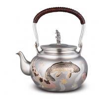 大渊银器 纯银 雕金鲤鱼银壶