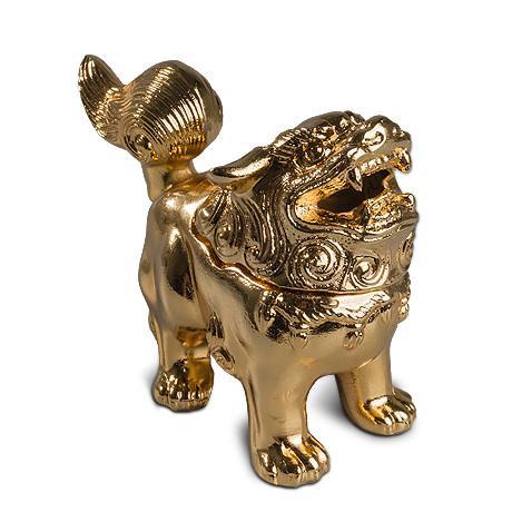高冈铜器 镀金 狮子香炉